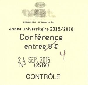 Ticket d'entrée à la conférence de Marc Dufumier au CGR de Niort