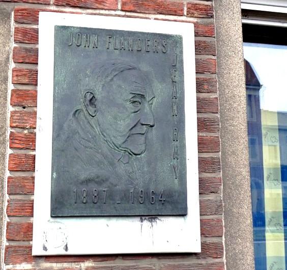 Tablica pamiątkowa John Flanders - Jean Ray (1887 - 1964), Rooigemlaan, Gandawa.
